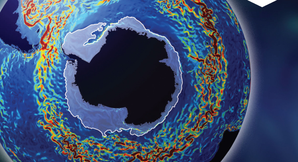 This image of the Antarctic Circumpolar Current indicates current speed: blue shows slow-moving water and dark red indicates speeds of above 1.5km per hour. The pale blue halo around Antarctica indicates sea ice. Image courtesy of the National Science Foundation.