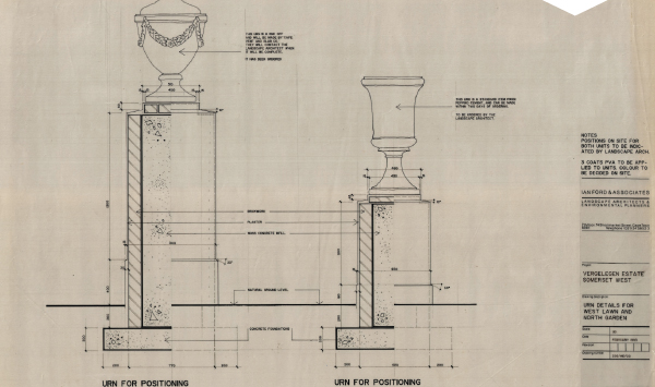 Diagram detail of an urn in the north garden of Vergelegen Estate from the Ian Ford Archive in the School of Architecture. After graduating with a B Arch from UCT, Ian Ford studied landscape architecture at Edinburgh University. His design work includes several highly significant South African heritage sites including Groot Constantia, Steenberg and Vergelegen.