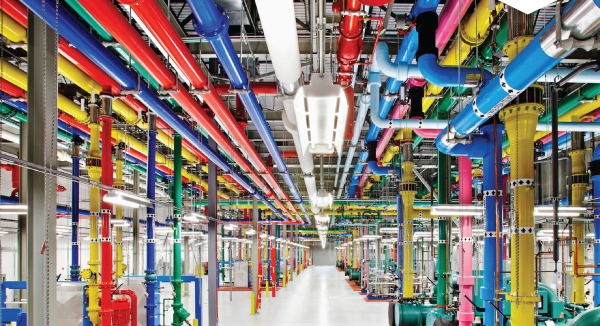 A central cooling plant in Google's data centre in Georgia, USA. Previous page: Professor Paul Bonnington in the Monash CAVE2TM, which is used to visualise big data. (CAVE2 is a trademark of the University of Illinois Board of Trustees). Image: Paul Jones, Coretext.