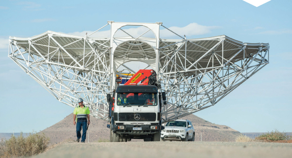 The construction of MeerKAT antenna. Image courtesy of SKA South Africa.