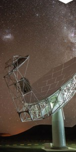 The newly constructed MeeKAT antenna (photo from SKA South Africa).